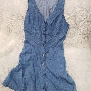 Vintage denim button up skater dress